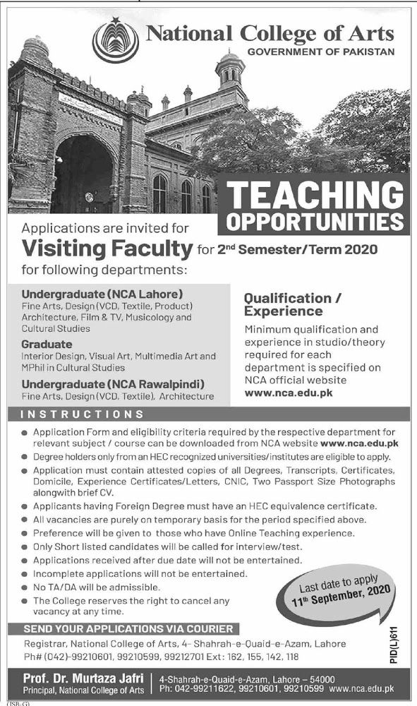 National College Of Arts Nca Lahore Visiting Faculty Jobs 2020 National College Of Arts Nca Lahore Job Advertise Jobs In Lahore Jobs In Art Faculties