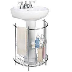 genius! need one.//Pedestal Sink Organizer, Under Sink Storage, Curved Wire Shelves | Solutions