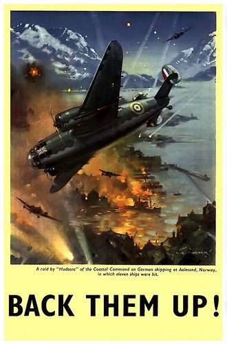 """A raid by """"Hudsons"""" of the Coastal Command on German shipping at Aalesund, Norway, in which eleven ships were hit -"""