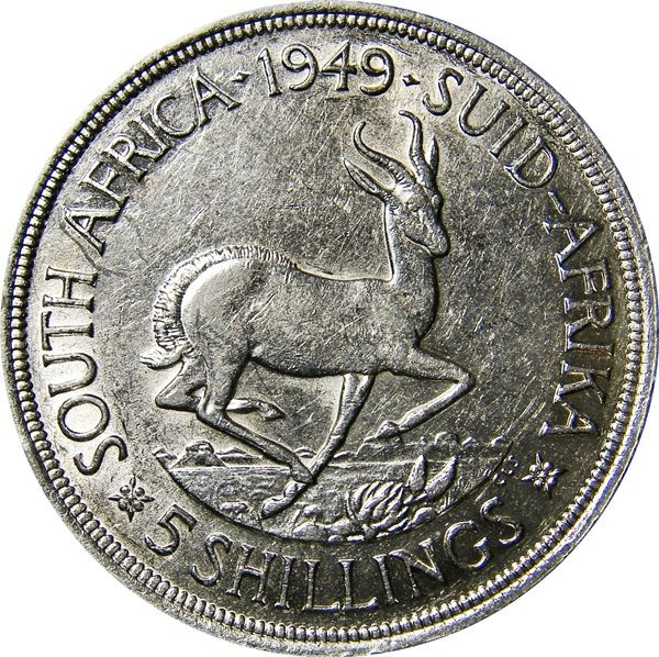 South Africa: 5 Shillings 1948-1951 G #silver #money #coin