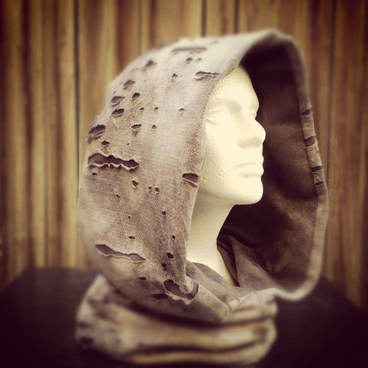 Grey Mesh Hood good for desert or festivals. $55.00, via Etsy.