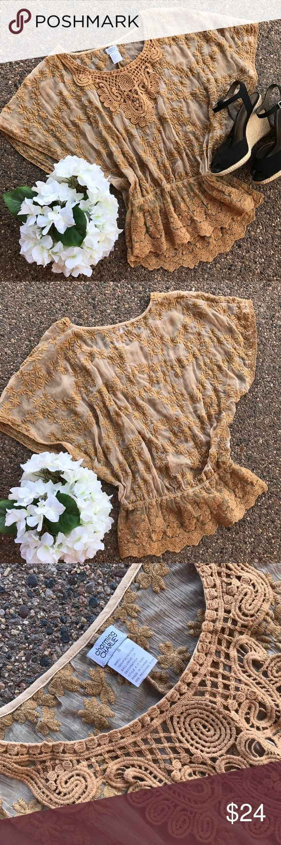 Gold/Brown Lace Blouse - Beautiful🍁Casual Friday! Golden Brown Lace Blouse, I always wear MEDIUMS and this fits me perfectly!!  Sheer lace...add a cami underneath, beautiful detail.... gathers at waist, so pretty!  Looks great with dark jeans!  BEAUTIFUL ON!!! Charming Charlie Tops Blouses