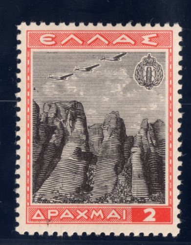 Greece Air Post Stamp 1940 C38 AP25 2d MH OG Meteora Monasteries near Taikkala