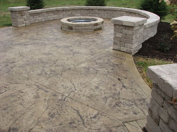 Stamped Concrete Patio With Fire Pit and Seating Walls Cincinnati Ohio