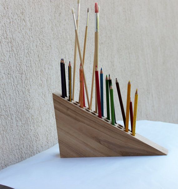 Pencil Holder Pen Holder Wooden Desk by colorTIMEbyLAIRAM on Etsy