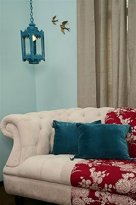 Neutral with red and turquoise love these colors in my room with cherry wood flooring