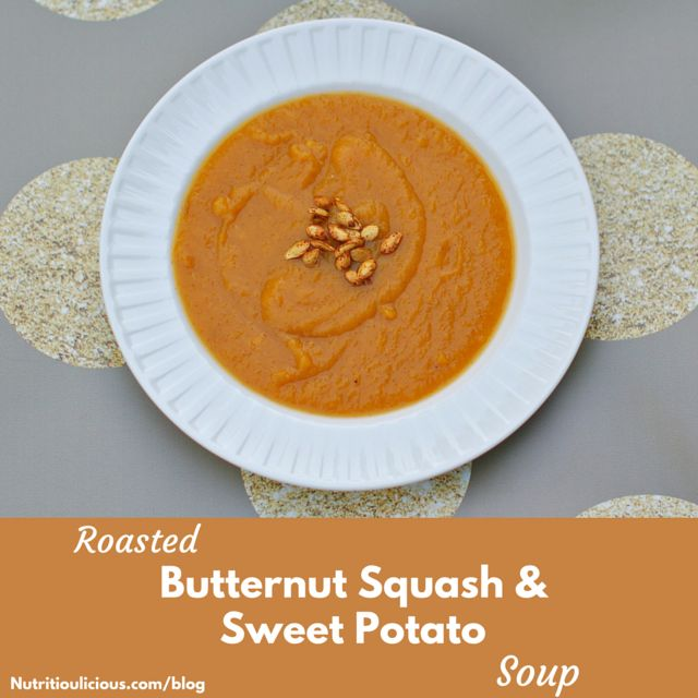 Roasted butternut squash and sweet potatoes make a creamy base for this vegetarian, gluten-free, and dairy-free soup, that's sweetened with maple syrup and seasoned with warming winter spices. @jlevinsonRD
