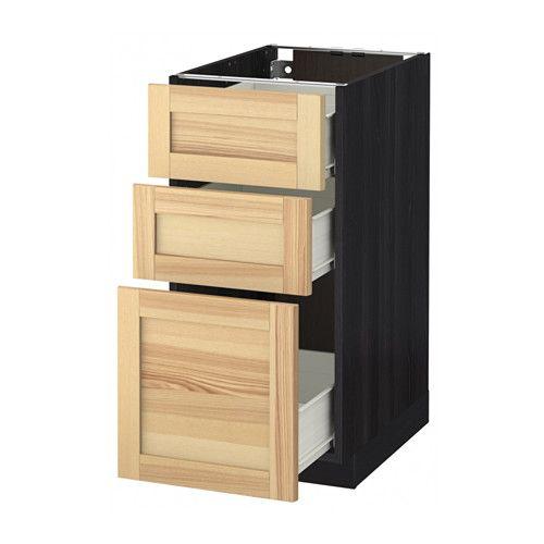 IKEA - МЕТОД / ФОРВАРА, Напольный шкаф с 3 ящиками, под дерево черный, Торхэмн естественный ясень, 40x60 см, , Ящик ФОРВАРА выдвигается на ¾ своей глубины и обеспечивает достаточно места для хранения.Каркас имеет устойчивую конструкцию, толщина 18 мм.