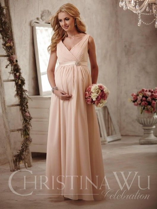 CHRISTINA WU CELEBRATION  Style BM40M from Christina Wu Celebration is a long Maternity bridesmaid dress that features a V neck tank style gown with ruching on the bodice.