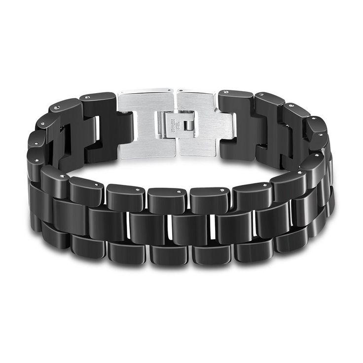 Top Quality Health Men/Women 316L Stainless Steel Jewelry Black Enamel Bracelets