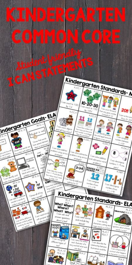 Kindergarten common core I can statements for all ELA and math common core standards. Includes student friendly I can statements for all math, writing, reading, listening and speaking and language standards on simple handout sheets that include visuals that explain each standard and are easy for parents, teacher or students to understand. Great resource for student goal setting or to provide to parents so they are informed on what is expected in kindergarten.