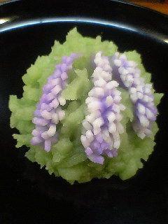 seasonal Japanese confectionery — 'Fuji musume' Wisteria Maiden