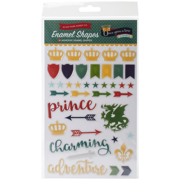 Echo Park Paper Once Upon A Time Prince Adhesive Enamel Shapes-