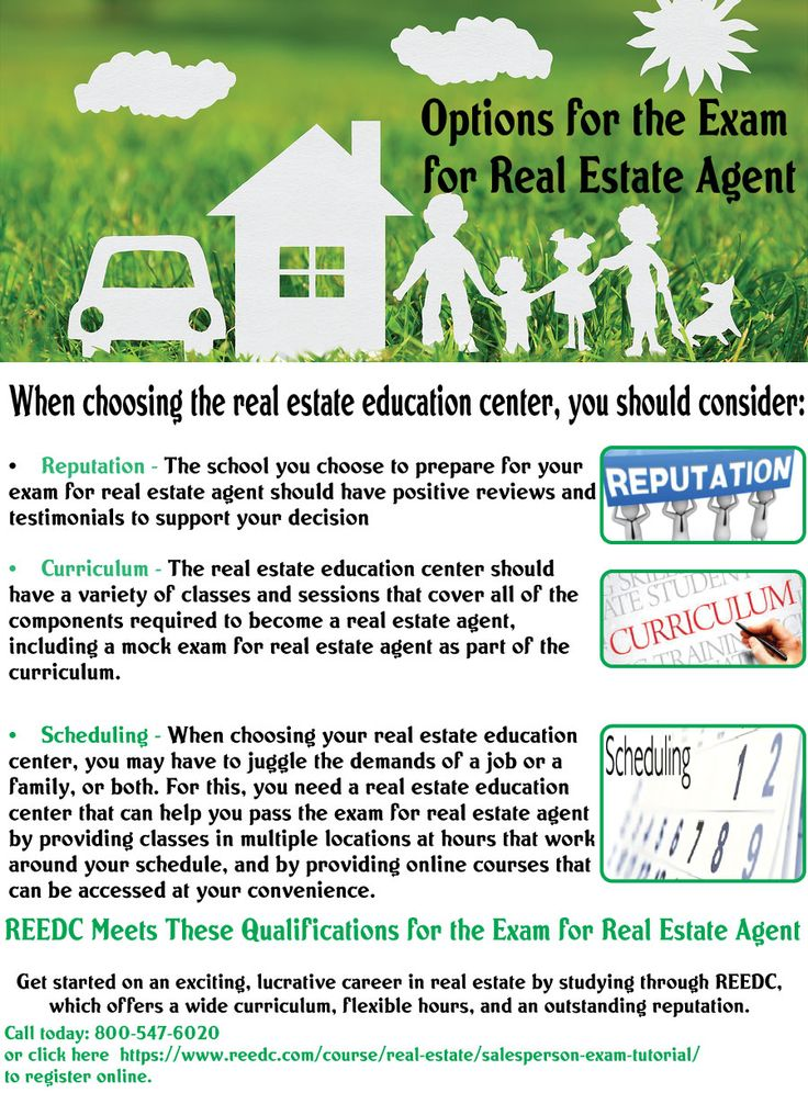 REEDC, which offers a wide curriculum, flexible hours, and an outstanding reputation. Source: https://www.reedc.com/course/real-estate/salesperson-exam-tutorial/, Information shared above is the personal opinion of the author and not affiliated with the website.