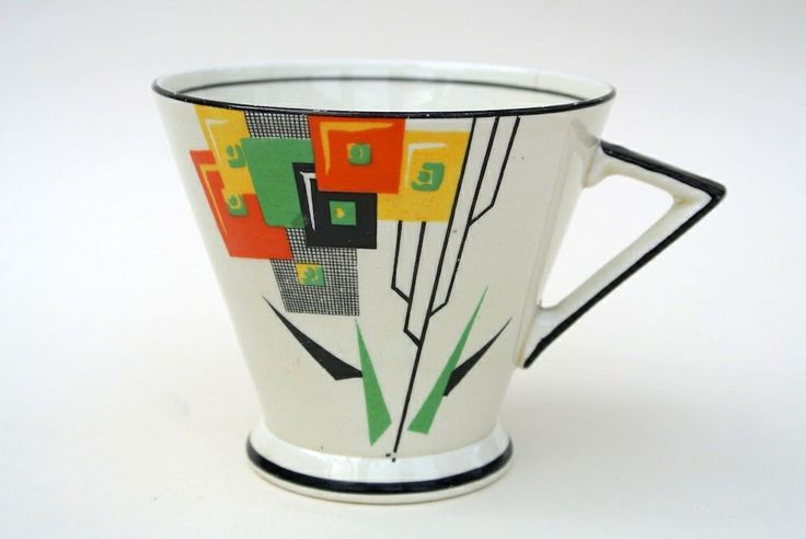 Art Deco Cup with Geometric Flower Pattern