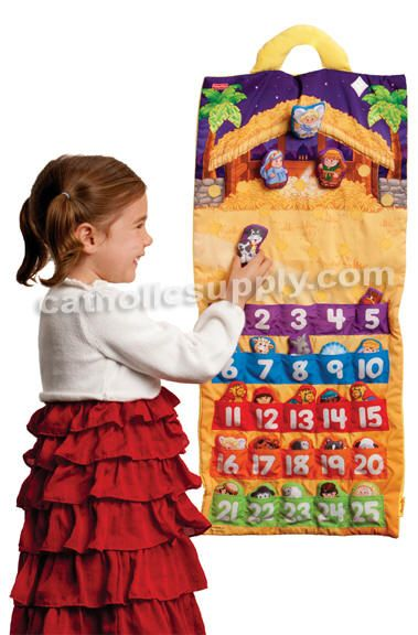 """Fisher Price Little People® Nativity Advent Calendar  EXCLUSIVE!  Start a new """"count-down-to-Christmas"""" tradition! Twenty-five soft Nativity decorations let kids add something new to the stable scene every day, building excitement and anticipation for the arrival of baby Jesus on Christmas morn! Hook-and-loop fasteners make the puffy fabric pieces easy for kids to attach all by themselves. Approx. 30"""" H x 14"""" W. Recommended ages 18 months and up. (Item #38894) $34.95  SALE! NOW $29.95  While…"""
