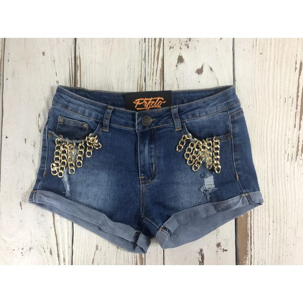 Chainz Distressed Denim Shorts Floral Denim Shorts Flower Jean Shorts Super Cute Gold Chains Cust found on Polyvore featuring polyvore, women's fashion, clothing, shorts, grey, women's clothing, stretch jean shorts, distressed denim shorts, gold shorts and stretch shorts