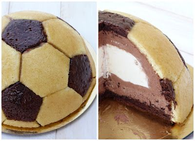 chic,chic,choc...olat: Gâteau d'anniversaire ballon de foot, mousses chocolat noir et blanc
