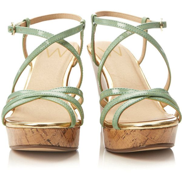 Green Wedge Sandal ($49) ❤ liked on Polyvore