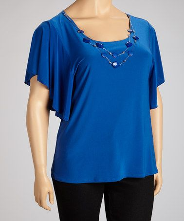 Take a look at this Royal Blue Necklace Cape-Sleeve Top - Plus on @zulily today!