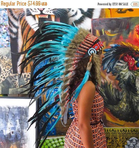 25% KORTING te KOOP het origineel - de echte Feather licht blauwe Chief Indische hoofdtooi Replica 100cm, Indiaanse stijl kostuum Hand gemaakt oorlog Bonnet