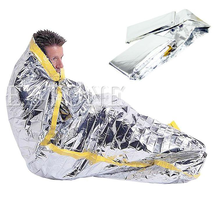 Esterno portatile impermeabile riutilizzabile emergenza foglia argento campeggio di sopravvivenza sacco a pelo