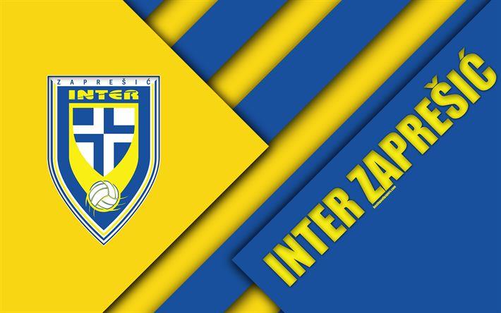 Download wallpapers NK Inter Zapresic, 4k, yellow blue abstraction, logo, material design, Croatian football club, Ban, Croatia, Prva HNL, football, Croatian First Football League