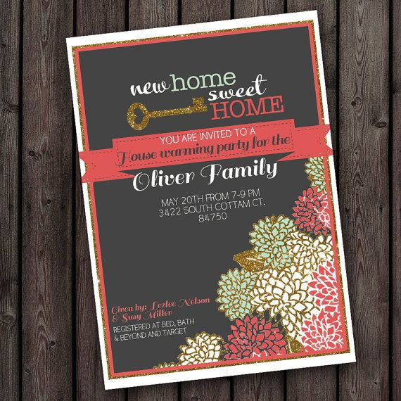 NEW home party invitation, open house invitation, customized wording, any occasion invitation, new home, house warming invitation
