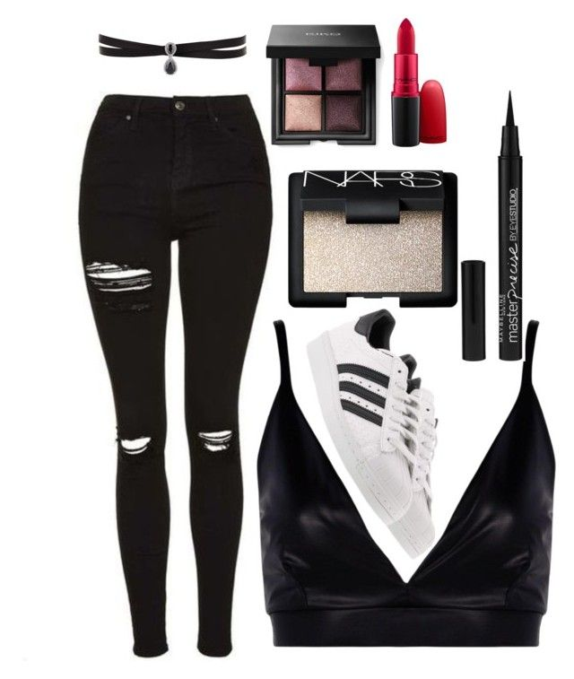 """""""Cute Look"""" by diyloving on Polyvore featuring Boohoo, adidas, Fallon, NARS Cosmetics and MAC Cosmetics"""