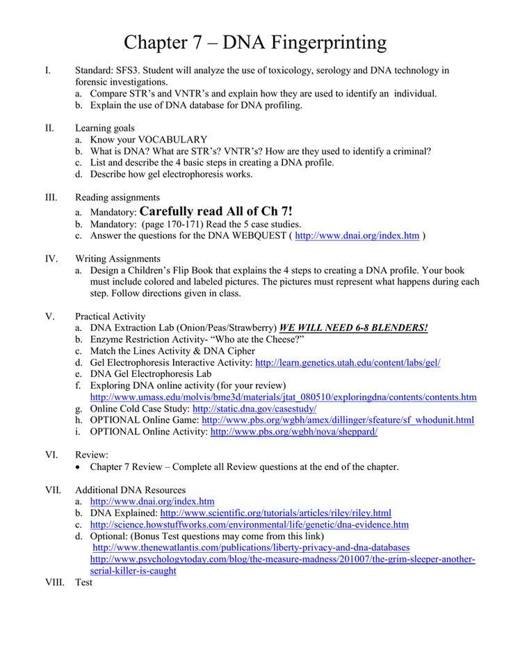 Dna Technology Worksheet — excelguider.com | Dna ...