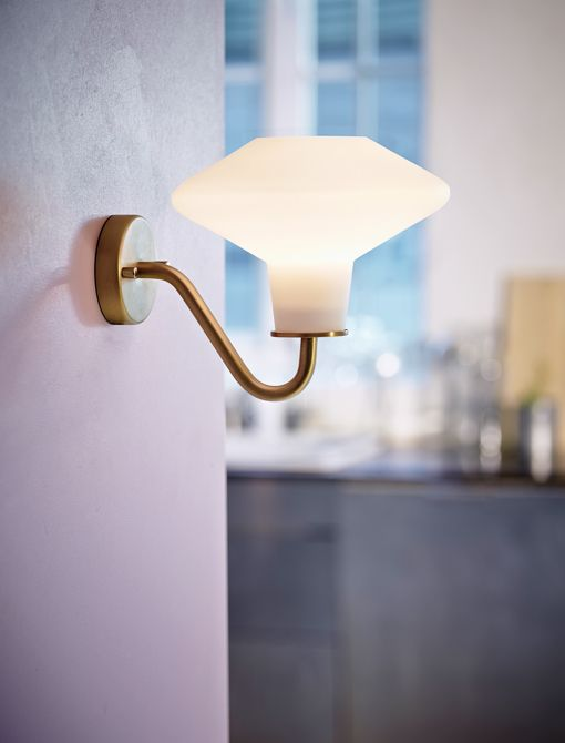 """DAWN wall lamp, mid century design, Denmark.  White opal glass with brass option.  9.8"""" deep X 7.3"""" wide.  Takes one E14 standard candelabra base bulb.  Comes with 78"""" cord for pin up mount, or can be direct wired.  List $143."""