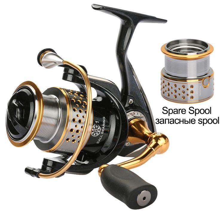 Trulinoya spinning fishing reel + one spare spool 2000 series 9BB carp reel