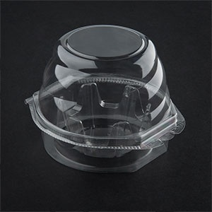 Swirl Dome 1 Compartment Hinged Clear Cupcake Container - 270 / CS
