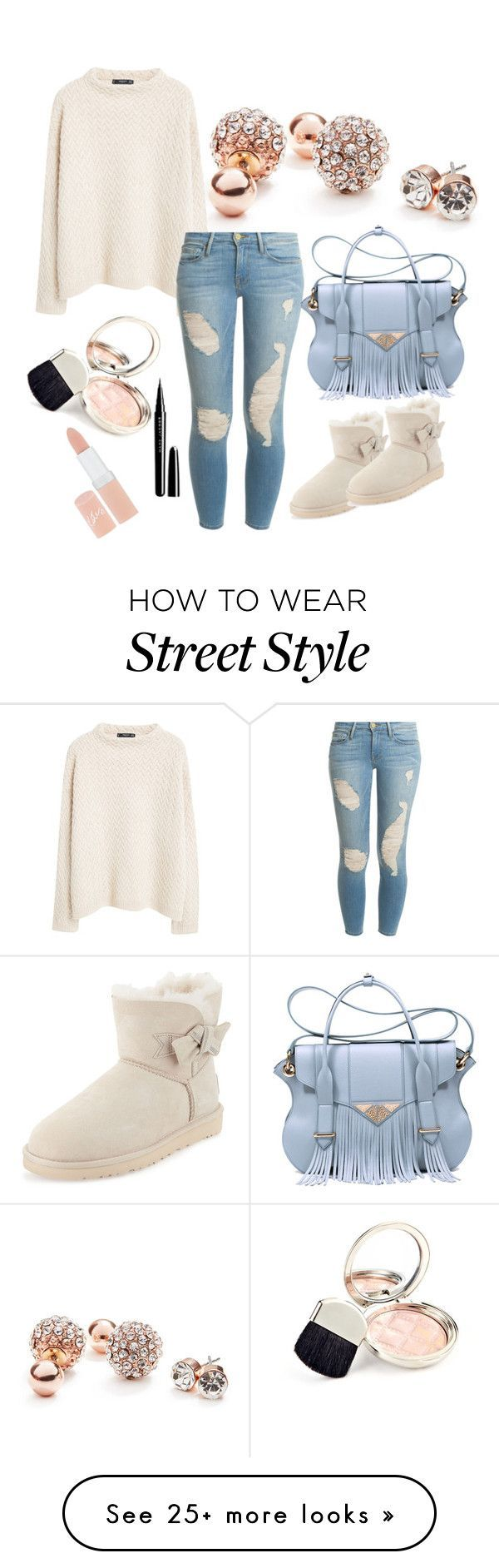"""Street style"" by mediasky on Polyvore featuring GUESS, MANGO, Frame Denim, Ella Rabener, UGG Australia, Marc Jacobs, By Terry and Rimmel"