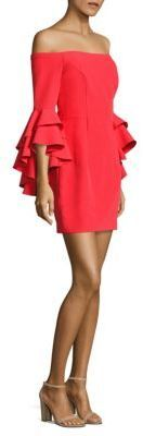 Milly Italian Cady Double Ruffle Selena Shift Dress