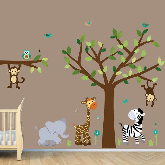 Jungle Decals, Jungle Wall Decals, Giraffe, Elephant, Monkey, Lion (Safari Evergreen)