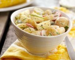 Salade de pommes de terre minceur aux radis et concombre (facile, rapide) - Préparation20mn - Cuisson 15mn - Repos 2h - Ingrédients pour 2 personnes :  - 300 g de pommes de terre - 1 botte de radis - 1 concombre - 1 pincée de fines herbes hachées * Pour la sauce :  - 4 c. à soupe de fromage blanc 0% - 1 jus de citron - 1 c. à café de moutarde - quelques brins de ciboulette ciselée - sel, poivre