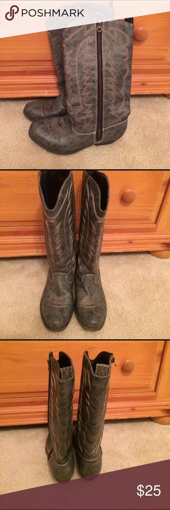 Big Buddha western style boots 7.5 Big Buddha western style boots 7.5. In good condition. A bluish gray in color. Only wore a few times. Comes from smoke free and pet free home. Big Buddha Shoes Heeled Boots
