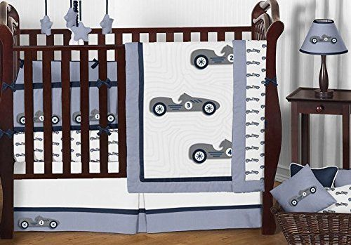 Sweet Jojo Designs Navy Blue Grey and White Vintage Race Car 9 Piece Baby Boy Bedding Crib Set trendy family must haves for the entire family ready to ship! Free shipping over $50. Top brands and stylish products