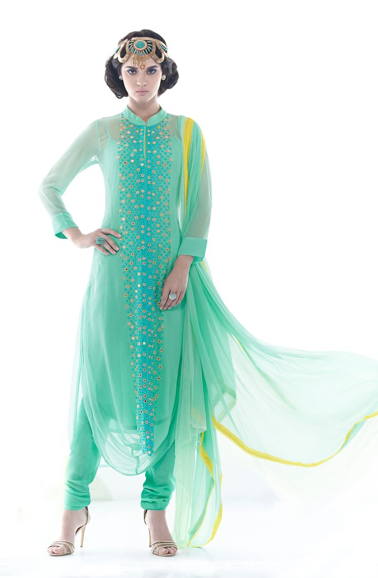 Designer Exclusive Green Unstitched Georgette Embroidered Salwar Suit with Mirron Work- SHA1102
