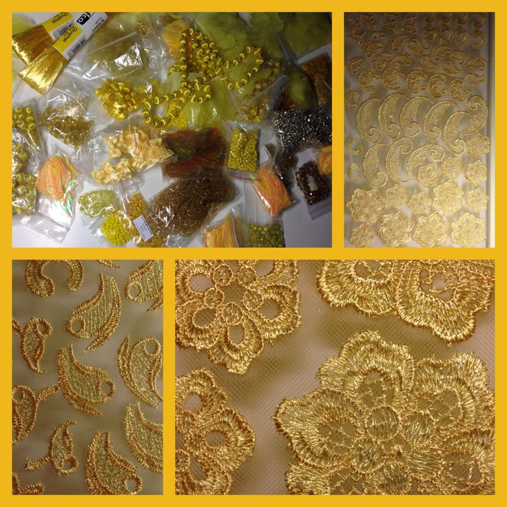 www.janvanderheijdenjr.nl Making a selection of different yellow beads, to embroider them on these lace flowers and leaves.