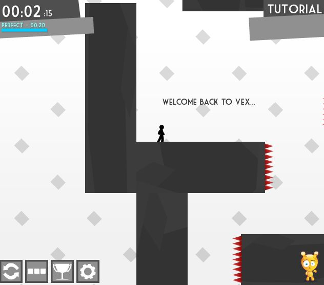 Vex 2 Hacked  Vex is back with bigger, larger and even harder levels! In the second installment of the fun-addicting jump and run plattform game you have to overcome lots of wicked challenges as you are trying to check all red flags of Vex 2 alive. You have to jump, climb and slide using the keyboard in this funky platformer with a simple but stylishly effective look. Much fun Play at http://www.flivgames.com/action/vex-2-hacked-18432