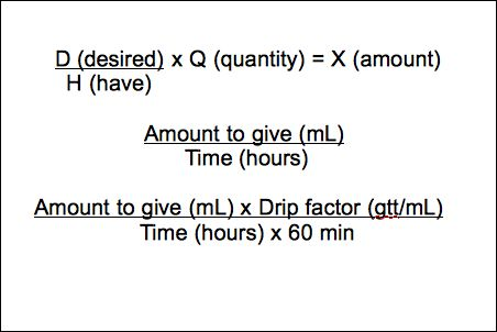 Gtt Factor formula | ... infusion without a pump amount ml x drip factor gtt ml t hr x 60 min