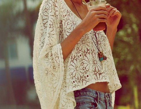 Boho Chic, Fashion, Lace Tops, Summer Outfit, Clothing, Summer Style, White Lace, Lace Shirts, Lace Crop Tops