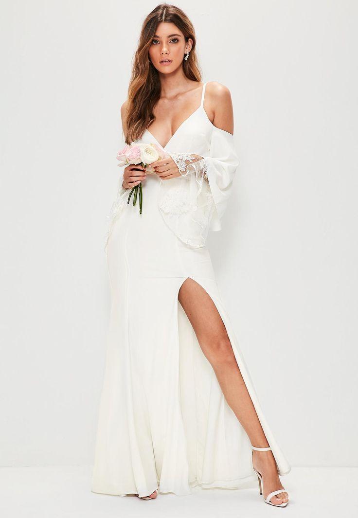 Missguided Bridal White Cold Shoulder Lace Detail Maxi