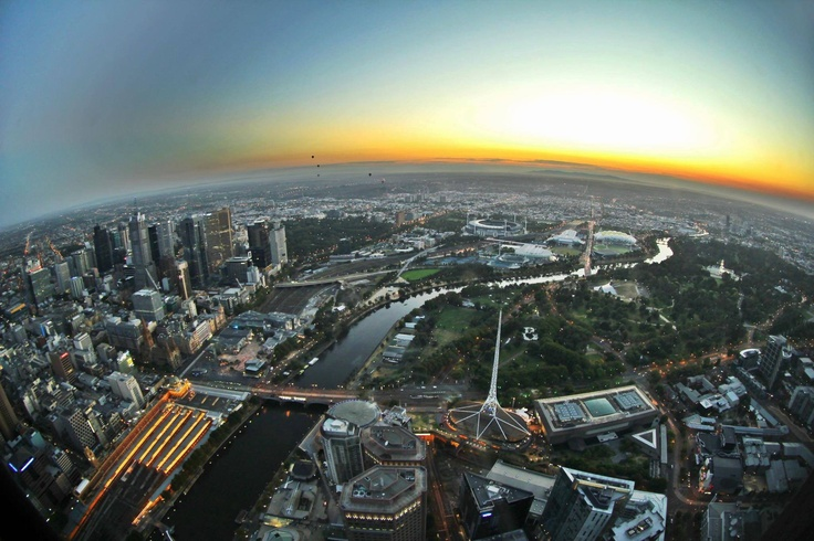 A view of Melbourne from the top of Eureka Skydeck 88  #Sunrise #Eureka #Skydeck88 #Australia