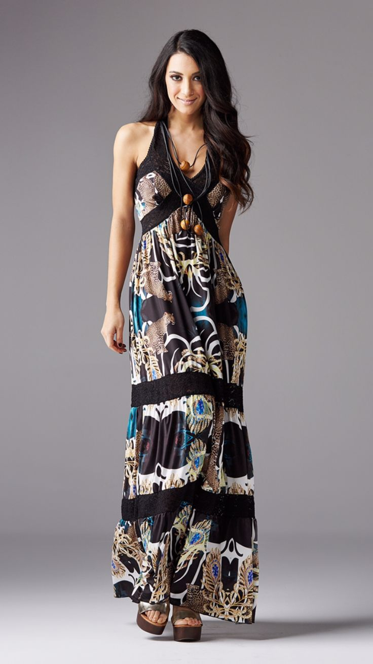 Maxi animal print and lace dress