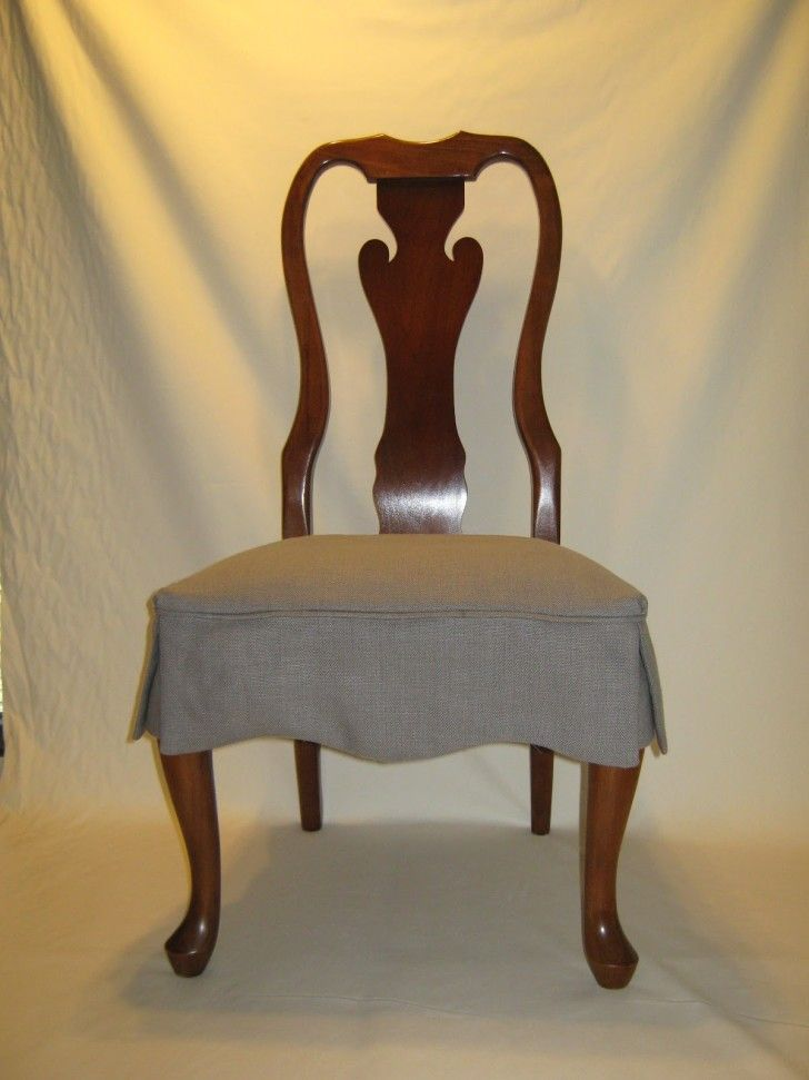 Dining Room Brown Varnished Mahogany Chair With Gray Skirted Seat Cover As Well
