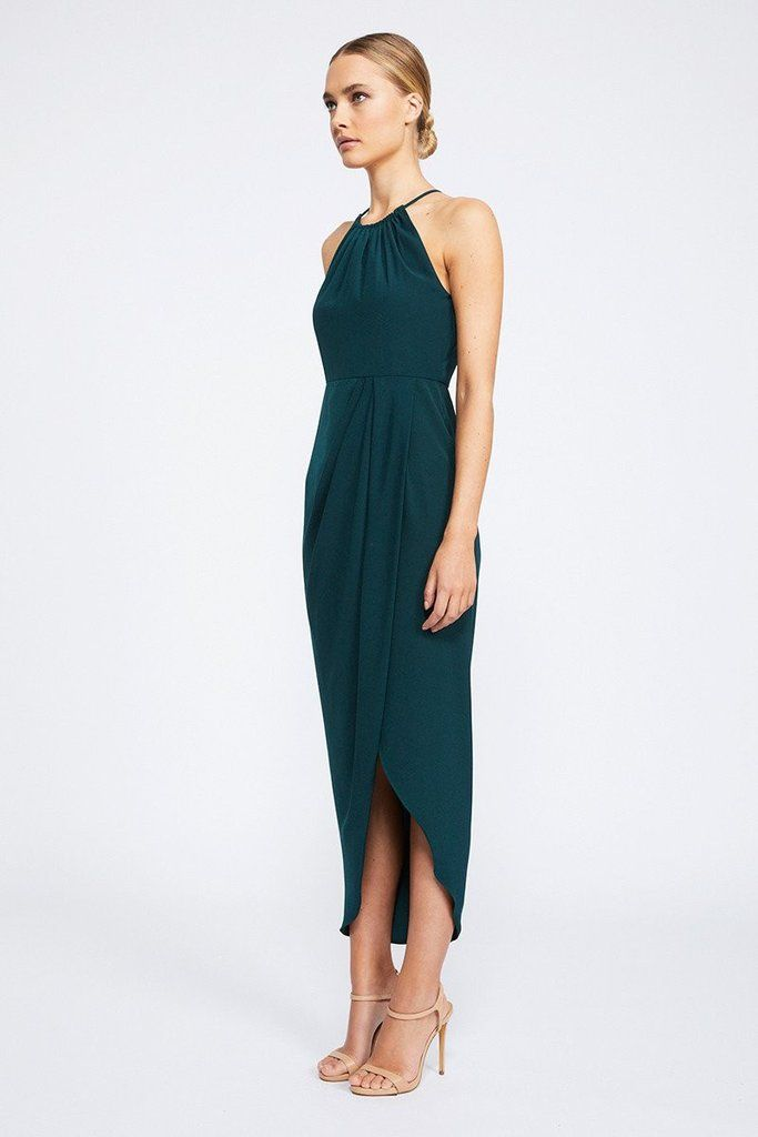 3052fcbbff CORE HIGH NECK RUCHED DRESS - SEAWEED