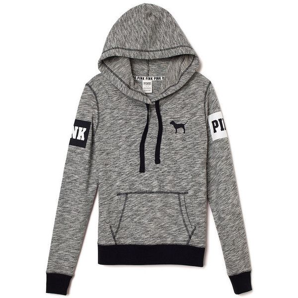 PINK Perfect Pullover found on Polyvore featuring tops, hoodies, sweaters, jackets, hoodies pullover, black pullover hoodie, pullover hoodie, slim fit hoodie and black pullover hoodies